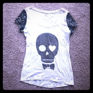 Express Sequin Skull Graphic Tee